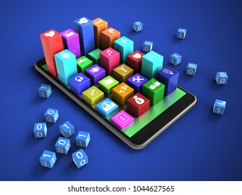 3d illustration of mobile phone over blue background with binary cubes and colorful icons