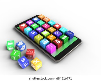 3d illustration of mobile phone over white background with cubes and application icons