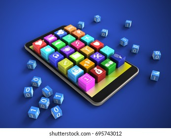 3d illustration of mobile phone over blue background with binary cubes and application icons