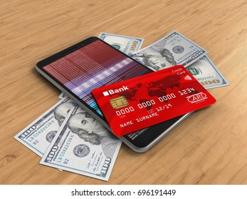 3d illustration of mobile phone over wooden background with banknotes and credit card