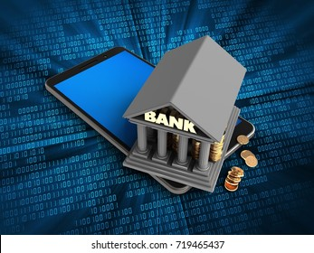3d illustration of mobile phone over digital background with bank