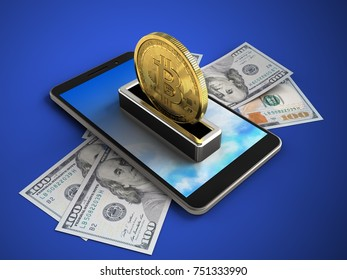 3d illustration of mobile phone over blue background with banknotes and bitcoin