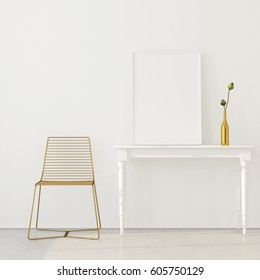 3D illustration. Mock up poster in minimalistic interior with a chair made of golden wire and a classic white table