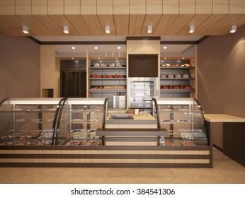 3d Illustration Of Modern Bakery Interior