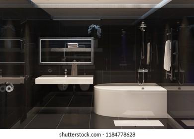 3d illustration. Modern black bathroom interior