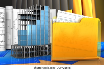 3d illustration of modern building frame with drawings over golden charts background