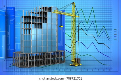 3d illustration of modern building frame with drawing roll over graph background
