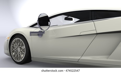 3D illustration of a modern car with a silver mirror