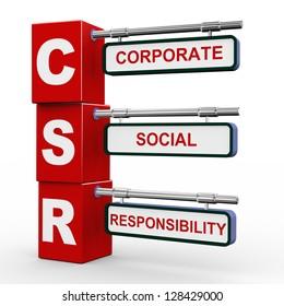 3d illustration of modern roadsign cubes signpost of csr - Corporate Social Responsibility