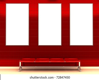 3d illustration of modern subway station with bench and three ad signs