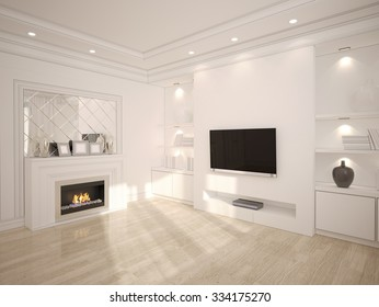 3D illustration of Modern white living room with wooden furniture and TV