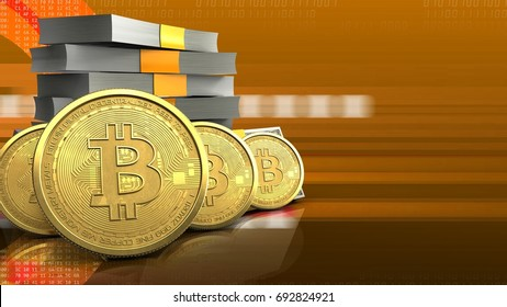 3d illustration of money stack over orange cyber background with bitcoins row