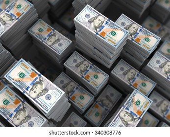 3d illustration of a lot of money stacks background