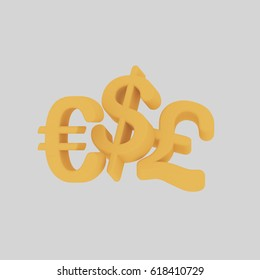 3d illustration. Money Symbols