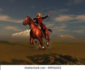 3d illustration of a Mongol warrior