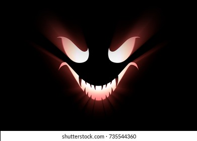 3D illustration of monster face with backside light beams