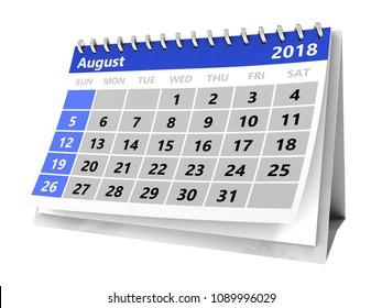 3d illustration of month calendar over white, 2018 august page