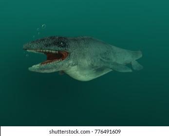 3d illustration of a Mosasaurus