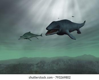 3d illustration of a Mosasaurus chasing an Ichthyosaur