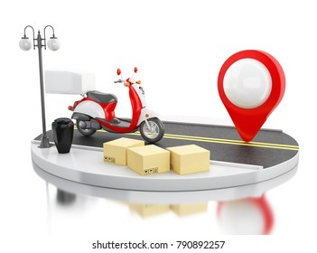 3d illustration. Motorbike with cardboard boxes. Global shipping and delivery concept. Isolated white background.