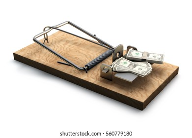 3D illustration of Mousetrap with money isolated on white