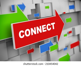 3d illustration of moving arrow of connect on abstract wall background