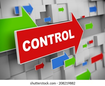 3d illustration of moving arrow of control on abstract wall background