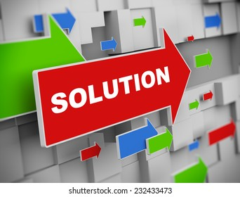 3d illustration of moving arrow of solution on abstract wall background