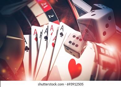 3D Illustration of Multi Casino Games Concept. Poker, Craps, Slot Machine and Roulette.