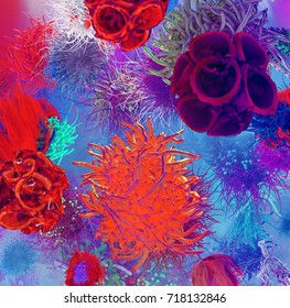 3d illustration muscle fiber background and red blood T-cells attacking a cell hepatitis