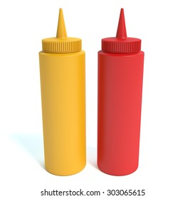 3d illustration of mustard and ketchup