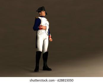 3d illustration of Napoleon Bonaparte