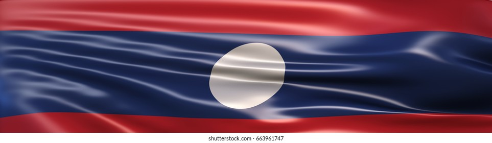 3D Illustration of the national flag of Laos rendered in large wide format