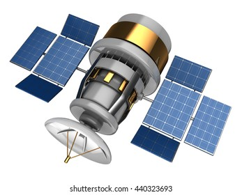 3d illustration of navigation satellite over white background