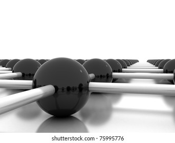 3d illustration of network or molecular structure over white background