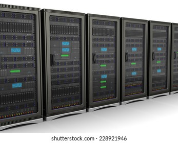 3d illustration of network servers row, over white background