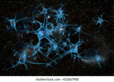 3D illustration neurons cell brain