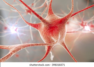 3D illustration of neurons on colorful background