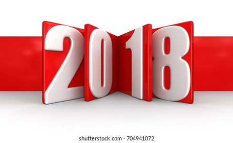 3d illustration. New Year 2018. Image with clipping path.