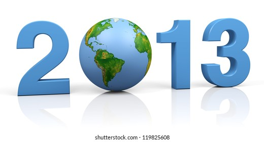 3d illustration of  New year concept. Realistic Earth globe and numbers isolated on white.
