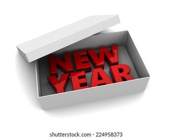 3d illustration of new year sign inside white box