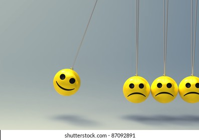 3d illustration of a newton cradle consisting of smiley faces