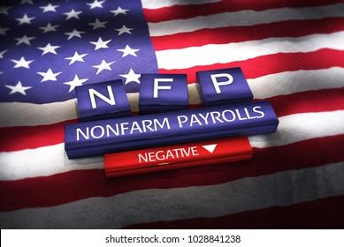 3d Illustration of NFP (Nonfarm Payrolls) blocks on American flag. Focus on Negative