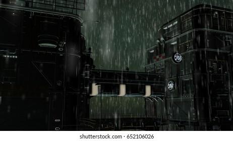 3D Illustration of a night futuristic city. Urban landscape in cyberpunk style