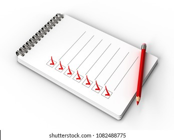 3d illustration of notepad with check list, all tasks is done