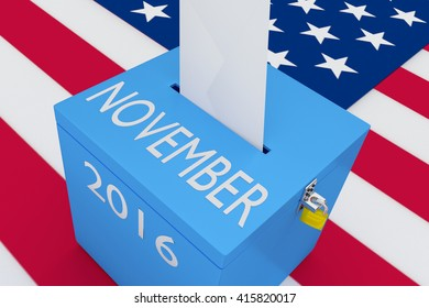 "3D illustration of ""NOVEMBER"", ""2016"" scripts and on ballot box, with US flag as a background. Election Concept."