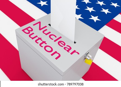 3D illustration of Nuclear Button script on a ballot box, with US flag as a background.