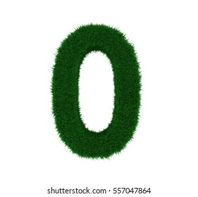3D illustration of the number 0, with a grass texture and plain white background. Simple white background and high resolution render used for ease of isolation.