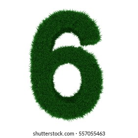 3D illustration of the number 6, with a grass texture and plain white background. Simple white background and high resolution render used for ease of isolation.