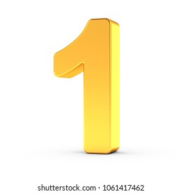 3D illustration of the number one as a polished golden object over white background with clipping path for quick and accurate isolation.